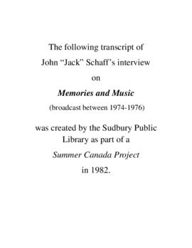Transcript of Jack Schaaf's Interview on Memories and Music