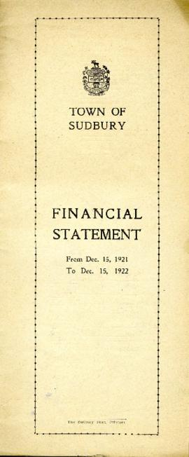 Financial Statement of the Town of Sudbury From Dec. 15, 1921 to Dec. 15, 1922