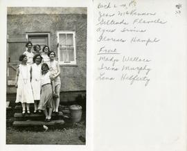 Back L→R - Jean McKinnon, Gertrude Flavelle, Agnes Irvine, Forence Hampel.  Front: Madge Wallace, Irene Murphy, Lena Helferty.
