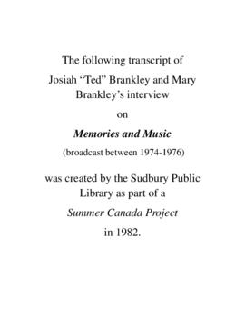 Transcript of Mr. & Mrs. Ted Brankley's Interview on Memories and Music