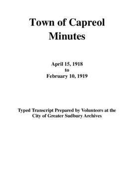 Typed Transcript of the Town of Capreol Minutes 1918-1919