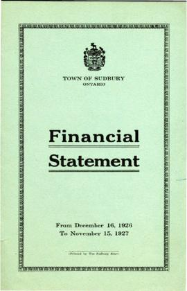 Financial Statement of the Town of Sudbury From December 16, 1926 to November 15, 1927
