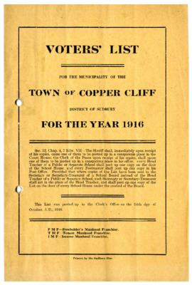 Voters' List, 1916, Municipality of the Town of Copper Cliff, District of Sudbury