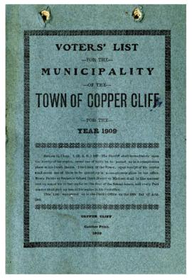 Voters' List, 1909, Municipality of the Town of Copper Cliff, District of Sudbury
