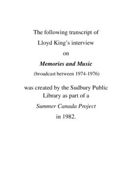 Transcript of Lloyd King's Interview on Memories and Music