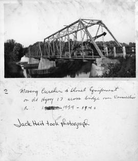 Moving Crusher & Shovel Equipment on Old Hywy across bridge over Vermillion R: 1939 - 1940 - ...