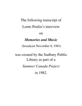 Transcript of Lorne Poulin's Interview on Memories and Music