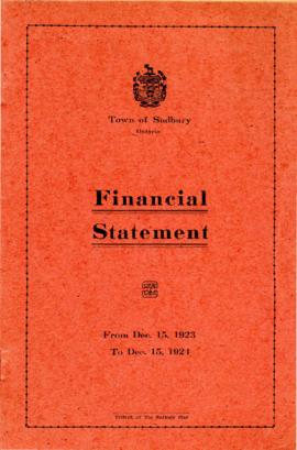 Financial Statement of the Town of Sudbury From Dec. 15, 1923 to Dec. 15, 1924