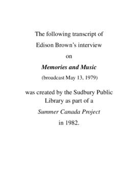 Transcript of Edison Brown's Interview on Memories and Music