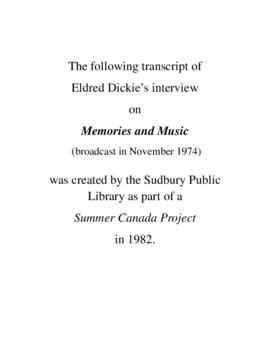 Transcript of Eldred Dickie's Interview on Memories and Music