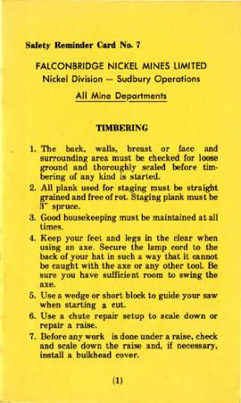 Safety reminder Card No. 7 Falconbridge Nickel Mines Limited Nickel Division - Sudbury Operations...
