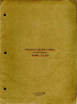 Corporation of the Town of Sudbury Auditor's Report December 31st 1926