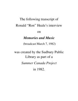 Transcript of Ron Heale's Interview on Memories and Music
