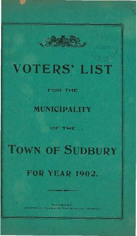 Voters' List for the Municipality of the Town of Sudbury For