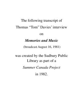Transcript of Tom Davies' Interview on Memories and Music
