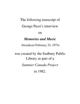 Transcript of George Passi's Interview on Memories and Music