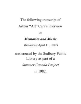 Transcript of Art Carr's Interview on Memories and Music