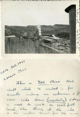 Water Tower - Late Oct. 1951 Levack Mine - This is THE Mine No 2 shaftwhich I worked in for 3 mon...