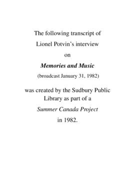 Transcript of Lionel Potvin's Interview on Memories and Music