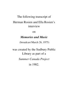Transcript of Herman Rosien's Interview on Memories and Music