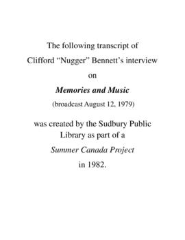 "Transcript of Cliff ""Nugger"" Bennett's Interview on Memories and Music"