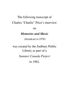 Transcript of Charlie Price's Interview on Memories and Music