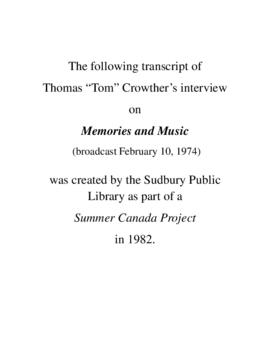 Transcript of Tom Crowther's Interview on Memories and Music