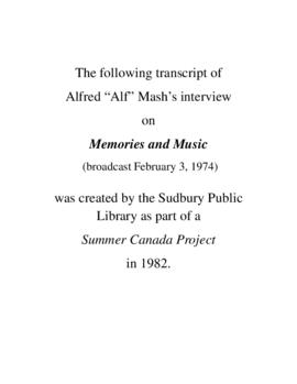 Transcript of Alf Mash's Interview on Memories and Music