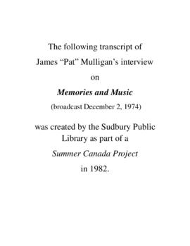 Transcript of Pat Mulligan's Interview on Memories and Music