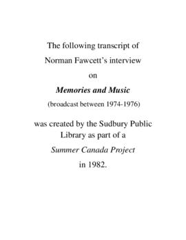 Transcript of Norm Fawcett's Interview on Memories and Music