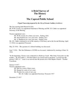 Typed Transcript of A History of Capreol Public School