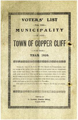 Voters' List, 1910, Municipality of the Town of Copper Cliff, District of Sudbury