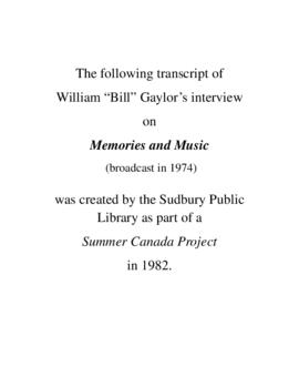 Transcript of Bill Gaylor's Interview on Memories and Music