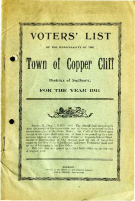 Voters' List, 1911, Municipality of the Town of Copper Cliff, District of Sudbury