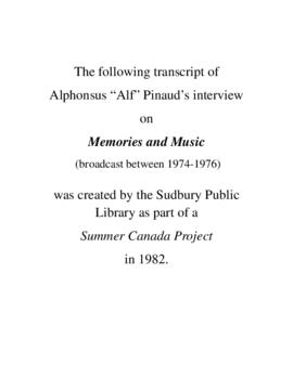 Transcript of Alf Pinaud's  Interview on Memories and Music