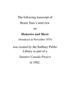 Transcript of Bruno Taus' Interview on Memories and Music