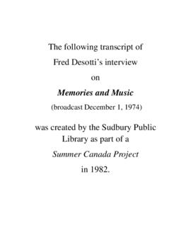 Transcript of Fred Desotti's Interview on Memories and Music