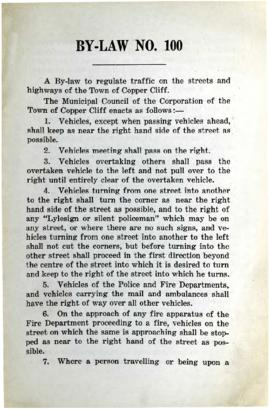 By-Law No. 100. A By-Law to Regulate Traffic on the Streets and Highways of the Town of Copper Cliff