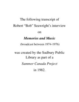 Transcript of Bob Seawright's Interview on Memories and Music