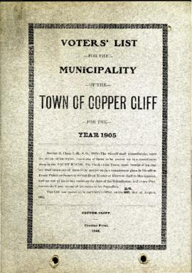 Voters' List, 1905, Municipality of the Town of Copper Cliff, District of Nipissing
