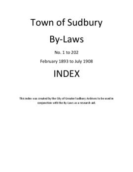 Index to the Town of Sudbury By-Laws, No. 1 to 202, February 1893 to July 1908