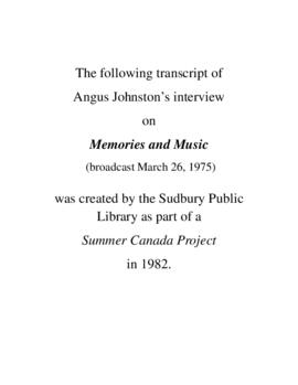 Transcript of Angus Johnston's Interview on Memories and Music