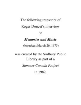 Transcript of Roger Doucet's Interview on Memories and Music