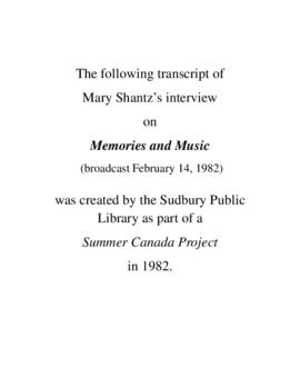 Transcript of Mary Shantz's Interview on Memories and Music