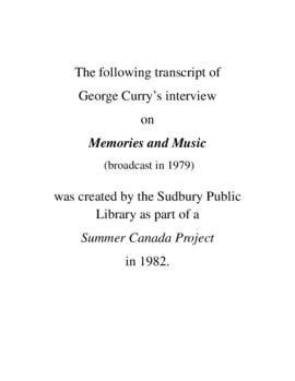 Transcript of George Curry's Interview on Memories and Music