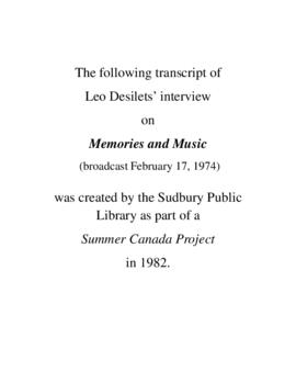 Transcript of Leo Desilets' Interview on Memories and Music