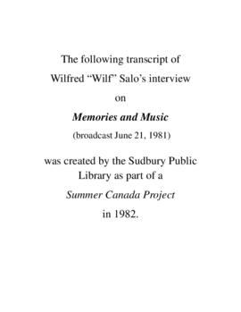 Transcript of Wilf Salo's Interview on Memories and Music