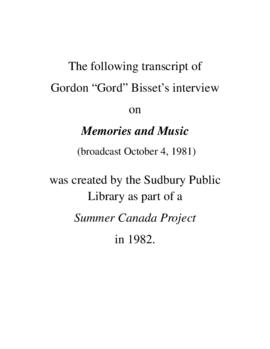Transcript of Gord Bisset's Interview on Memories and Music