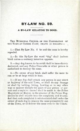 By-Law No. 59. A By-Law Relating to Dogs