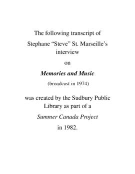 Transcript of Steve St. Marseille's Interview on Memories and Music